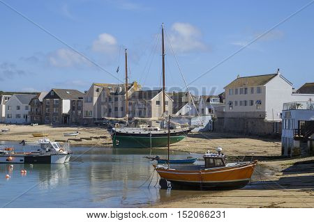 Sailing boats at St Mary's Harbour, Isles of Scilly, Cornwall, England.