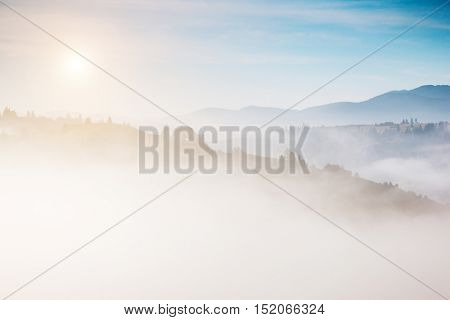 Great view of the alpine valley that glowing by sunlight. Picturesque and gorgeous morning scene. Popular tourist attraction. Location place Carpathian, Ukraine, Europe. Artistic picture. Beauty world