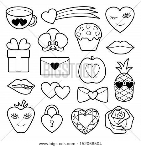 Romantic Patch Set with hearts, flowers and love objects. Fashion patches. Pin badges set. Stickers collection. Appliques for denim or clothes.