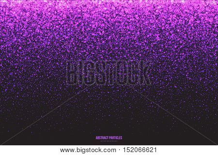 Abstract bright purple shimmer glowing round falling particles vector background. Scatter shine tinsel light explosion effect. Sparkle violet dots. Celebration, holidays and party illustration