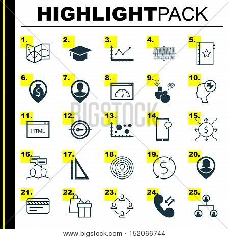 Set Of 25 Universal Editable Icons For Business Management, Travel And Statistics Topics. Includes I
