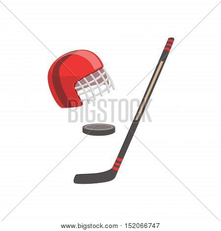 Hockey Stick, Puck And Helmet As A National Canadian Culture Symbol. Isolated Illustration Representing Canada Famous Signature On White Background