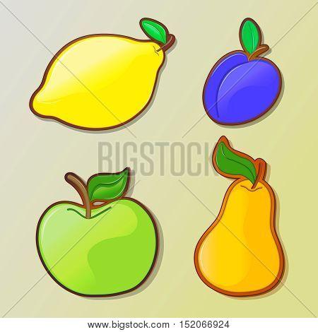 Set of colorful cartoon fruit icons: apple, pear, plum, lemon. Vector illustration, isolated .