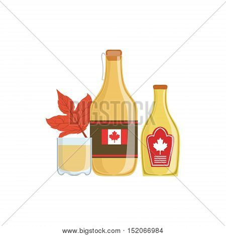 Maple Syrup As A National Canadian Culture Symbol. Isolated Illustration Representing Canada Famous Signature On White Background
