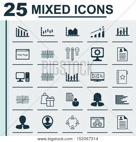 Set Of 25 Universal Editable Icons For Seo, Human Resources And Statistics Topics. Includes Icons Su