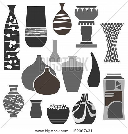 A set of icons of various styles of vases