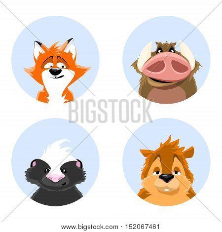 set of avatars wildlife. cute animals on a blue background. skunk, squirrel, wild boar, fox. vector illustrations.