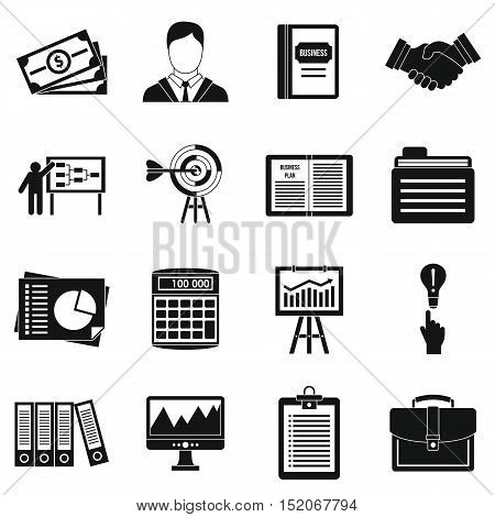 Business plan icons set. Simple illustration of 16 business plan vector icons for web