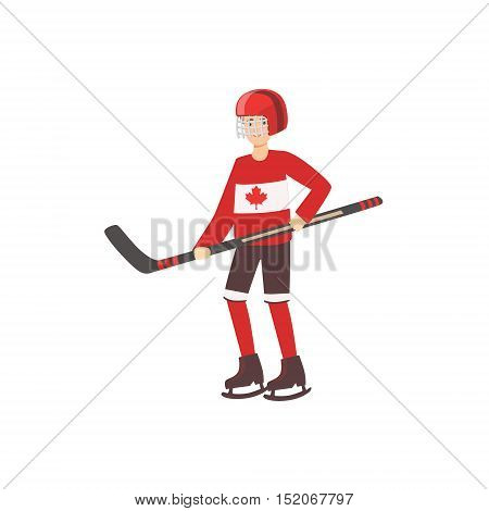 Hockey Player As A National Canadian Culture Symbol. Isolated Illustration Representing Canada Famous Signature On White Background