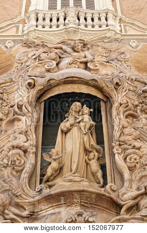 Sculpture on the front gate of Palacio del Marques de Dos Aguas Valencia, Spain