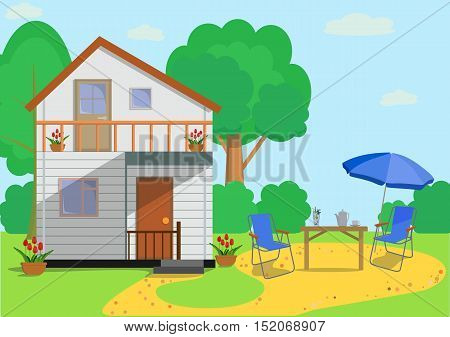 The facade of the colorful eco cottage house with chairs, table, parasol, drinks, trees, tulips and garden objects in flat style.