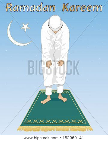 an illustration of a muslim devotee in prayer in the festival of ramadan with islamic symbol and prayer mat on a blue starry background
