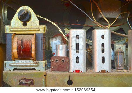 ILLUSTRATIVE EDITORIAL.Vintage Soviet  radio components close up.October 15,2016 Kiev, Ukraine