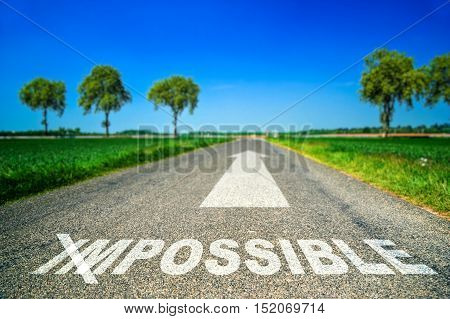 Possible Word Painted On Asphalt Road
