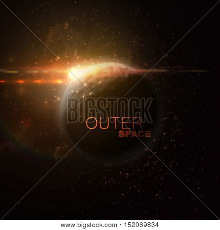 Outer Space. Abstract vector illustration of planet and stars with lens flare optical effect.