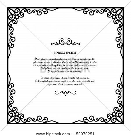 Vintage square frame with ornamental corners scroll embellishment on white certificate or invitation card template