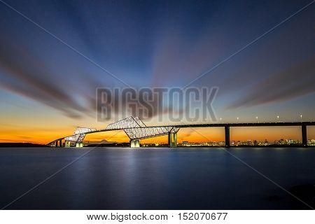 Tokyo landmark , Tokyo Gate Bridge and Mountain Fuji at sunset