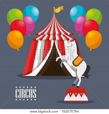 red and white striped tent circus with balloons and horse icon. colorful design. vector illustration