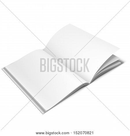 Opened book or magazine with empty blank pages isolated on white background. White object mock-up or template