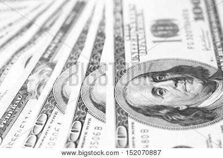 US dollar bills closeup / black and white photo