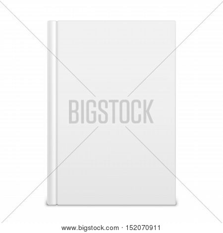 Book with empty blank cover isolated on white background. White object mock-up or template