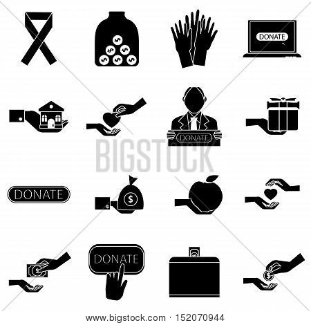 Charity icons set. Simple illustration of 16 business plan vector icons for web