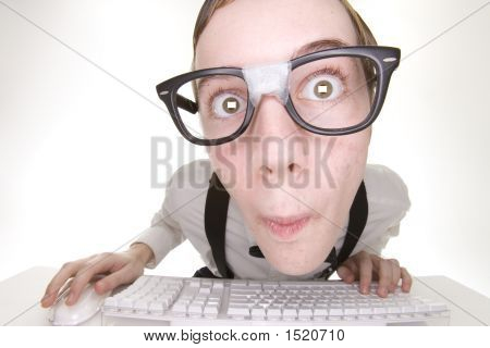 Surprised Teenage Computer Nerd