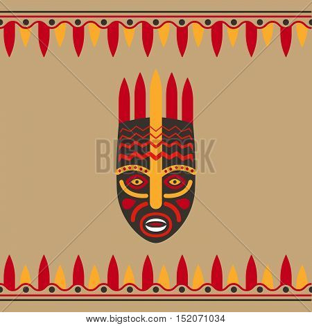 Tribal style card with mask and borders. Vector illustration