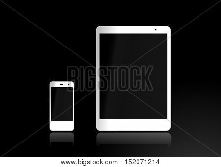 Tablet and smartphone isolated on black background