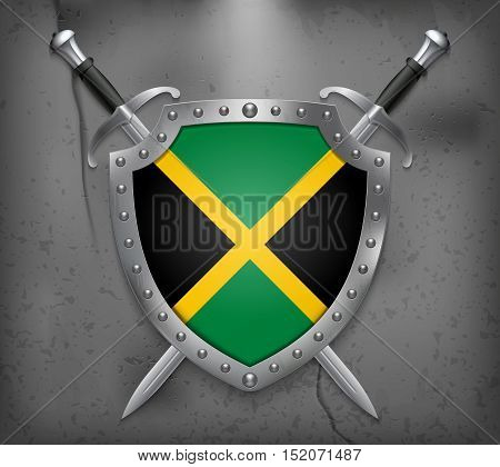 Flag Of Jamaica. Vector Medieval Background