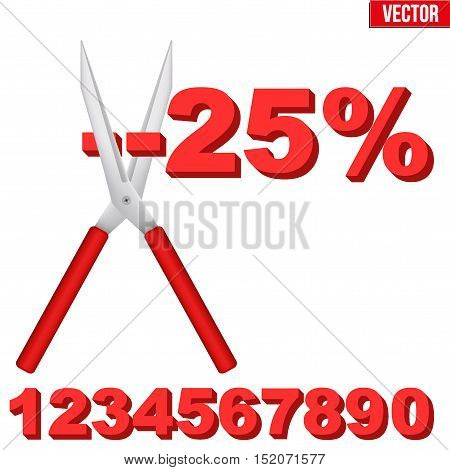 Discount Percentage cut large scissors. Price decrease and drop cost. Editable Vector illustration Isolated on white background.