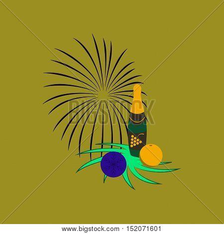flat illustration on stylish background of Christmas ball champagne bottle