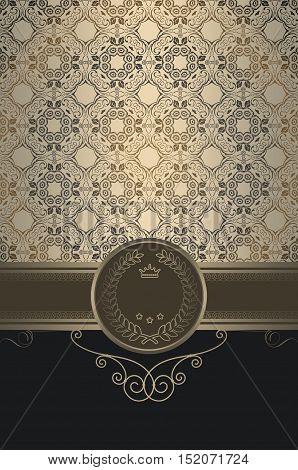 Ornate background with decorative border elegant frame and old-fashioned patterns.