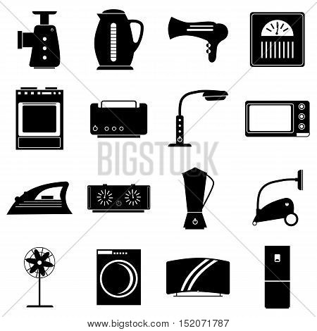 Household appliances icons set. Simple illustration of 16 household appliances vector icons for web