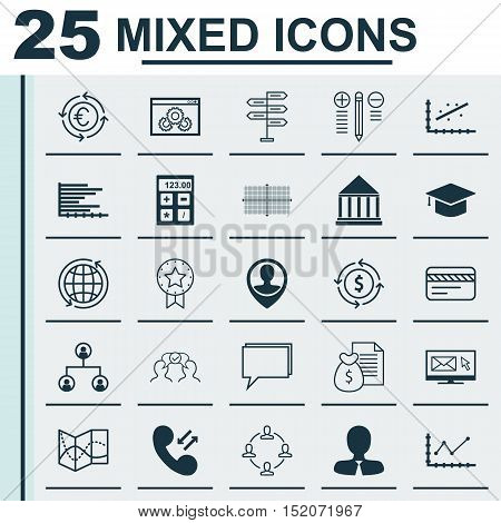 Set Of 25 Universal Editable Icons For Statistics, Travel And Human Resources Topics. Includes Icons