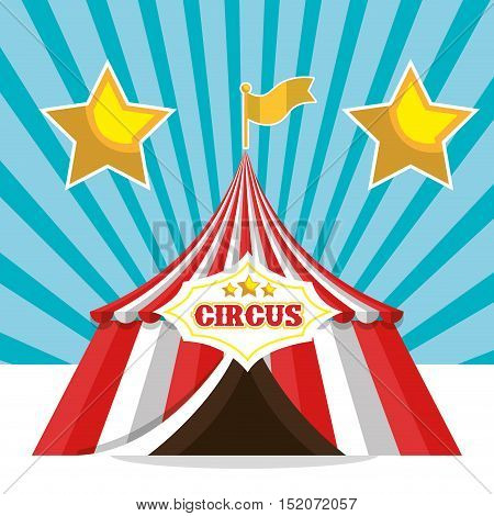 red and white striped tent circus icon. colorful design. vector illustration