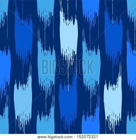 Abstract stains, seamless pattern, blue. Vector background of vertical, jagged, dark blue and light spots on a dark blue field.