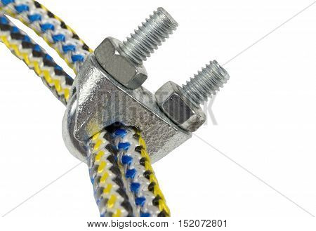 Wire rope clips isolated on a white background