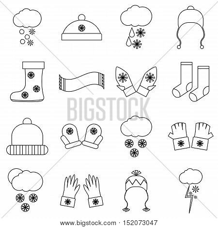 Winter clothes icons set. Outline illustration of 16 winter clothes vector icons for web
