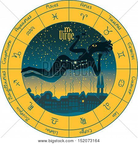 Virgo on the background urban night landscape and the starry sky in circle with the signs of the zodiac