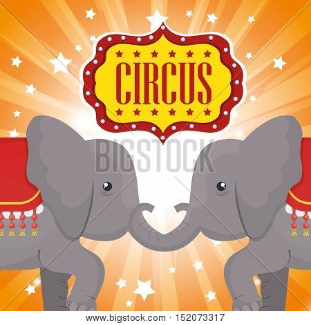 circus elephant festival show over orange background. vector illustration
