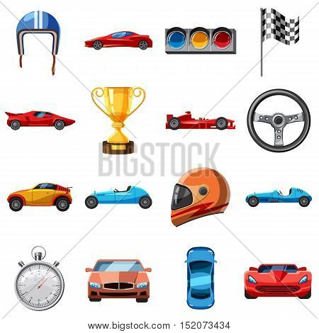 Race icons set. Cartoon illustration of 16 race vector icons for web
