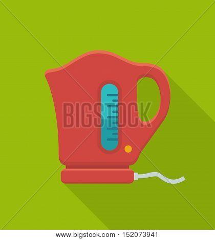 Electric kettle flat icon. Vector Illustration utensil