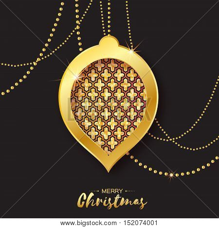 Merry Christmas Golden Glitter balls. Beautiful Decoration Bauble elements and garlands on back background. Happy New Year Greeting card. Vector design illustration