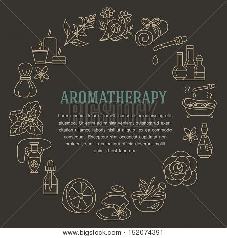 Aromatherapy and essential oils brochure template. Vector line illustration of aromatherapy diffuser oil burner spa candles incense sticks herbal bag massage. Aromatherapy poster spa salon