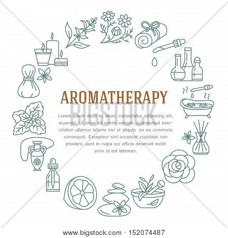 Aromatherapy and essential oils circle template. Vector line illustration of aromatherapy diffuser oil burner spa candles incense sticks herbal bag massage. Essential oils poster editable stroke