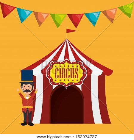 avatar happy man with red and white striped tent circus icon over yellow background. colorful design. vector illustration