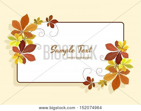 Autumn background with yellow fallen leaves rectangle frame with corner decoration greeting card or invitation template