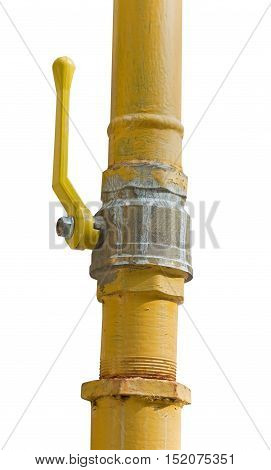 metal pipe with valve on white background