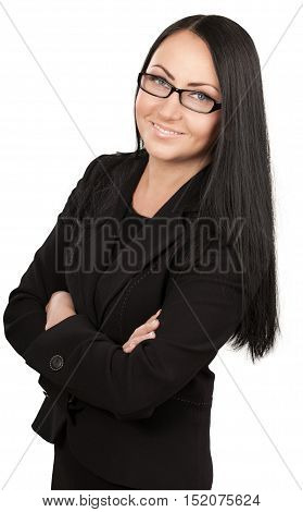 Friendly Businesswoman Standing with Arms Folded - Isolated